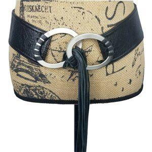 Ellen Tracy Genuine Leather Wide Boho Fringe Belt